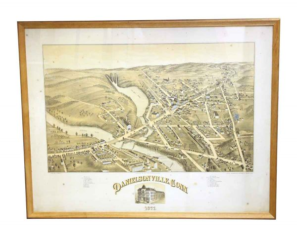 Globes & Maps - Antique Framed Map of Danielsonville Ct