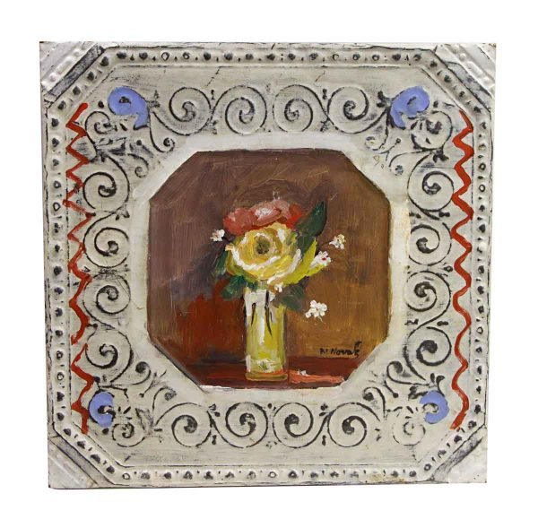 Hand Painted Panels - Hand Painted Novak Floral Tin Panel