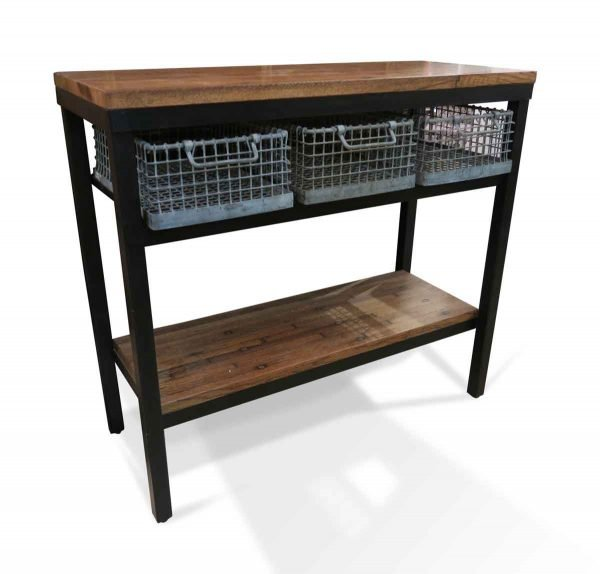 Altered Antiques - Industrial Flooring Console with Metal Basket Steel Frame