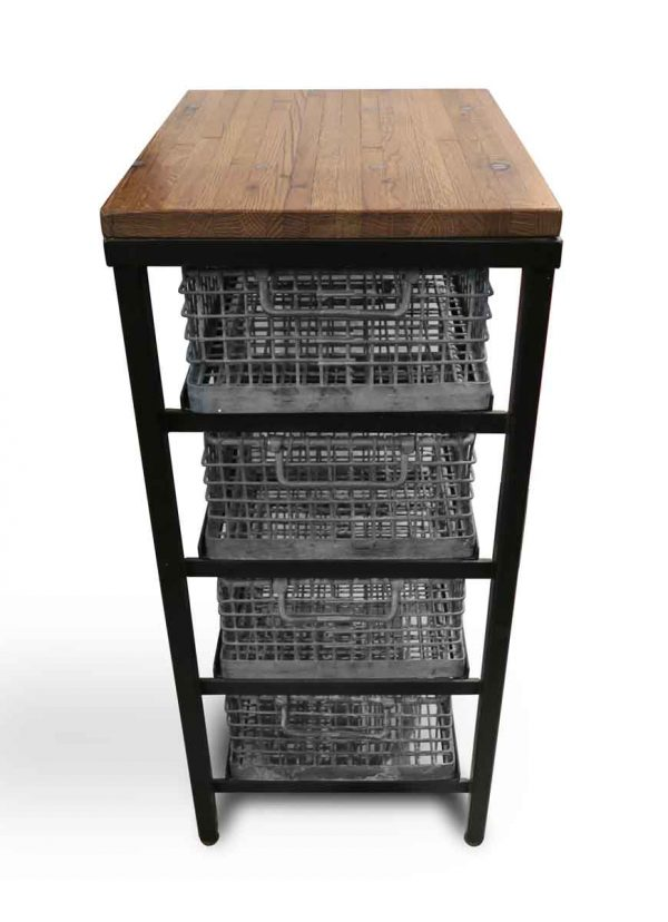 Altered Antiques - Industrial Flooring Top 4 Metal Wire Basket Console