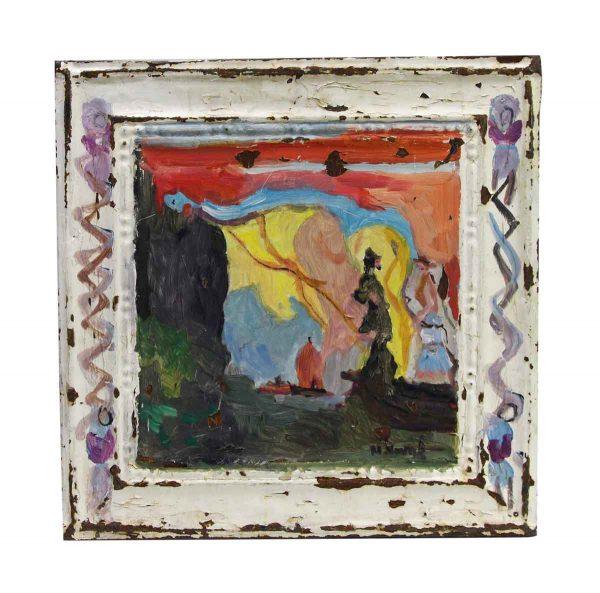 Hand Painted Panels - Hand Painted Figural Novak Tin Painting