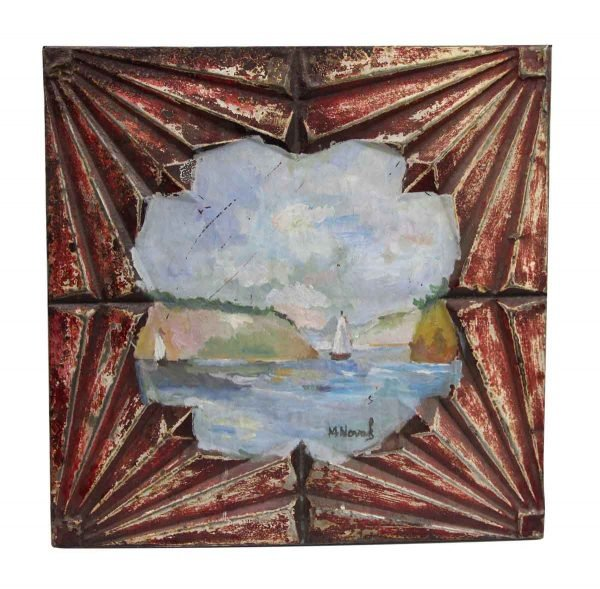 Hand Painted Panels - Hand Painted Sail Boat Antique Tin Painting