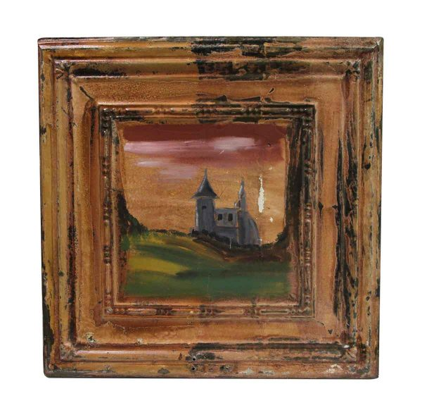 Hand Painted Panels - Hand Painted Scenic Antique Tin Panel Painting