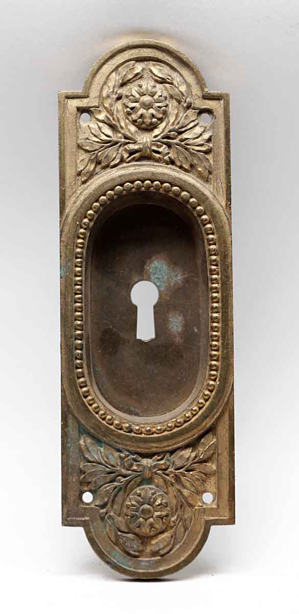 Pocket Door Hardware - Antique Cast Brass Beaded Pocket Door Plate