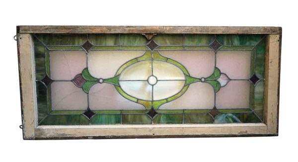 Stained Glass - Antique Stained Glass Purple & Green Transom
