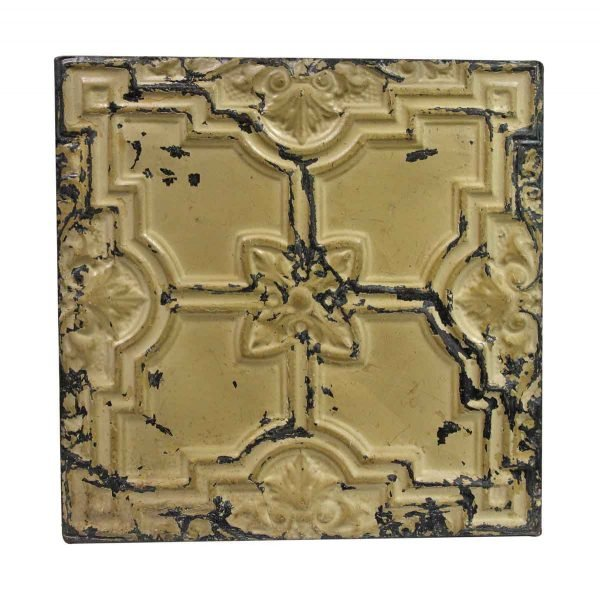 Tin Panels - Handmade Tan Raised Floral Tin Panel