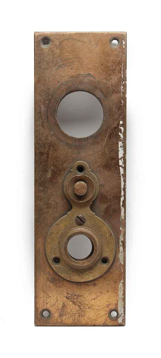 Back Plates - Vintage Brass Door Back Plate with Door Bell Button
