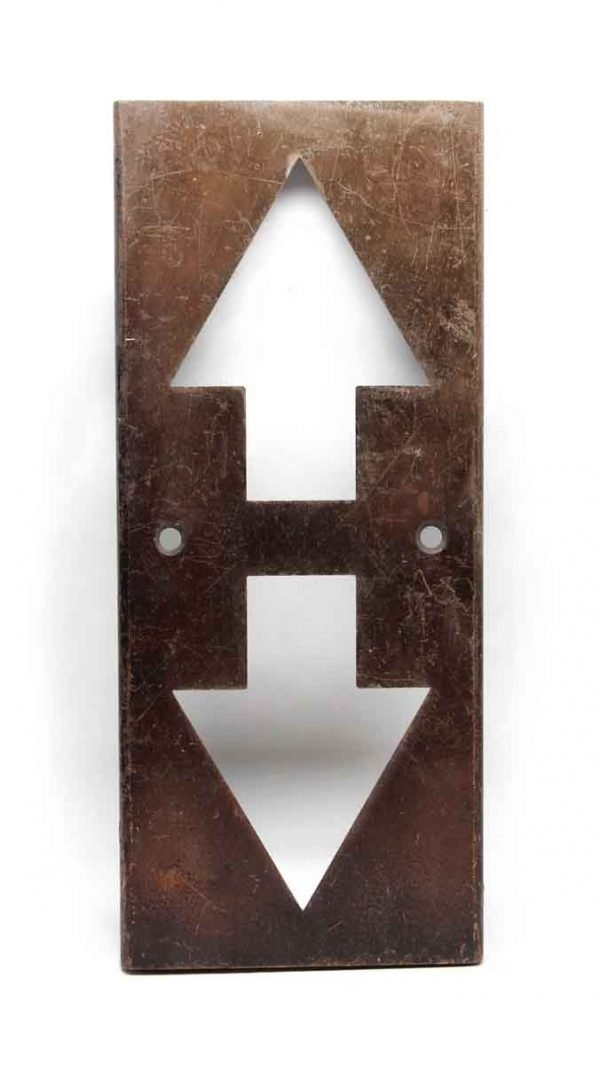 Elevator Hardware - Salvaged Up & Down Arrow Elevator Cover Plate