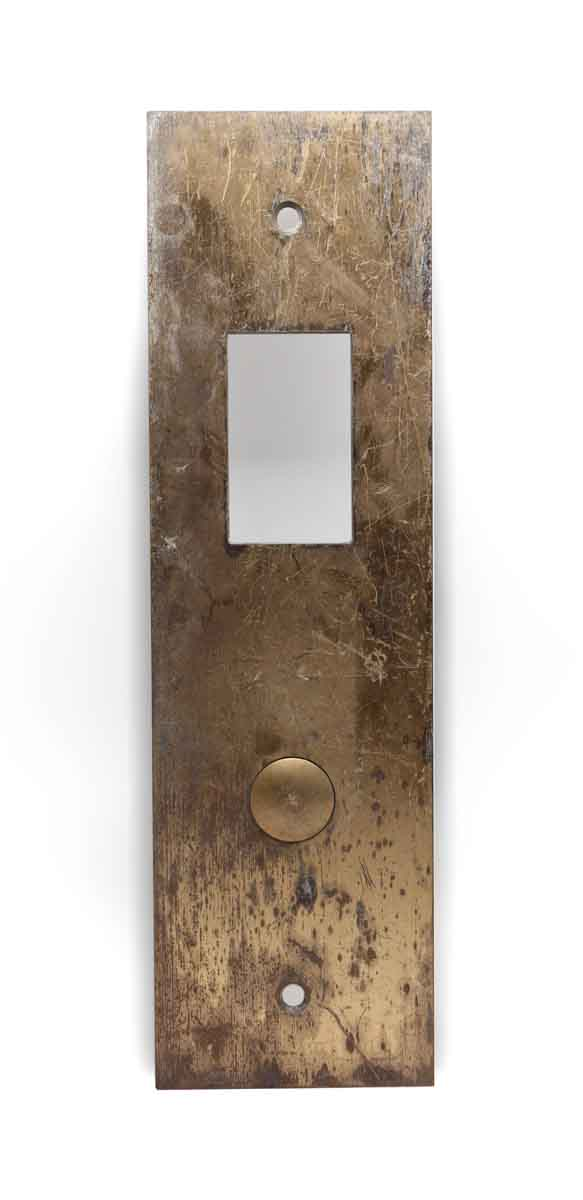 Elevator Hardware - Vintage Brass One Button Bottom Floor Elevator Plate