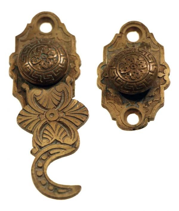Window Hardware - Antique Floral Bronze Window Shutter Latch