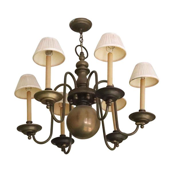 Chandeliers - Salvaged Waldorf Brass Colonial Chandelier with Trumpet Arms