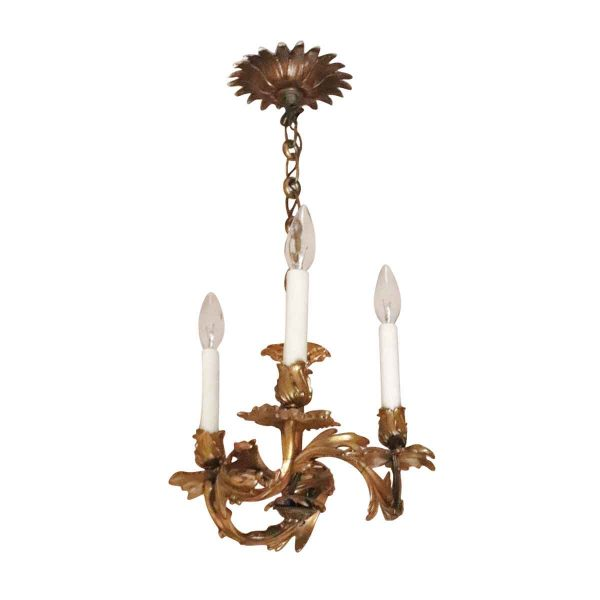 Chandeliers - Salvaged Waldorf Cast Brass French Foliage Chandelier