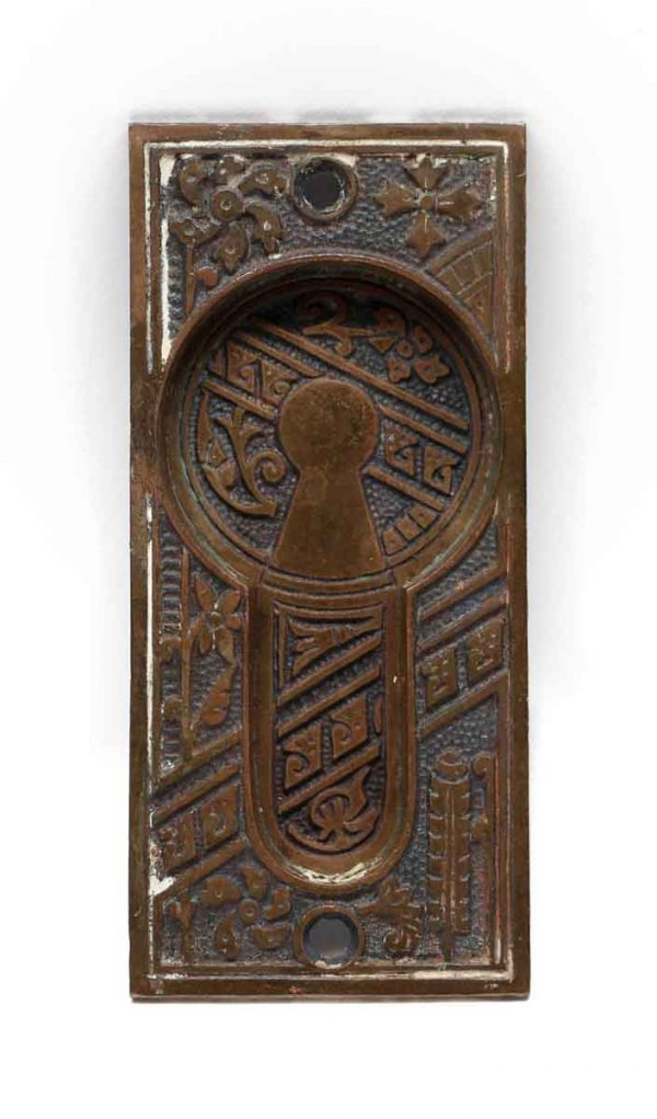 Pocket Door Hardware - Antique Aesthetic Bronze Pocket Door Plate