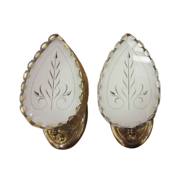 Sconces & Wall Lighting - Spade Shaped Sconces with White Etched Glass