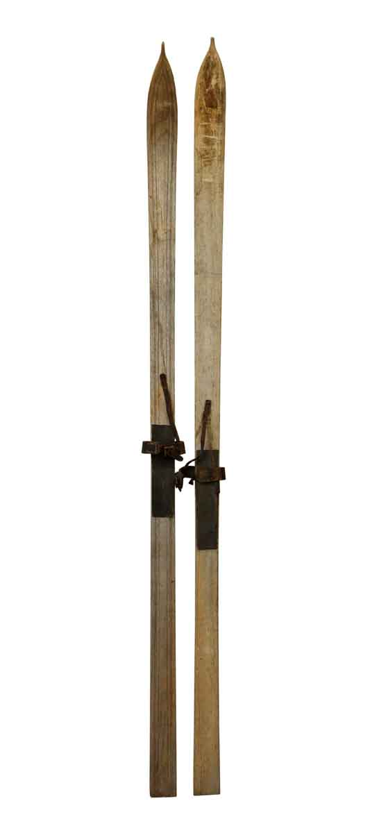 Sporting Goods - Pair of Vintage Skis with Pointed Tips