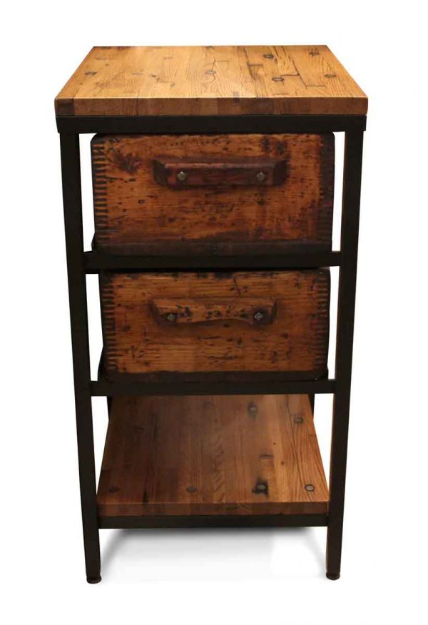 Altered Antiques - Handmade Industrial Flooring Two Drawer Side Table
