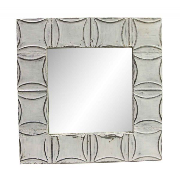 Antique Tin Mirrors - Curved Squares Bright White Antique Tin Mirror