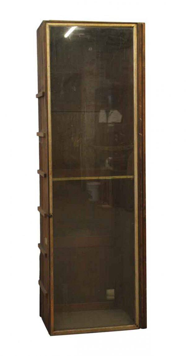 Cabinets - Tall Wood Built-in Cabinet with Glass Front