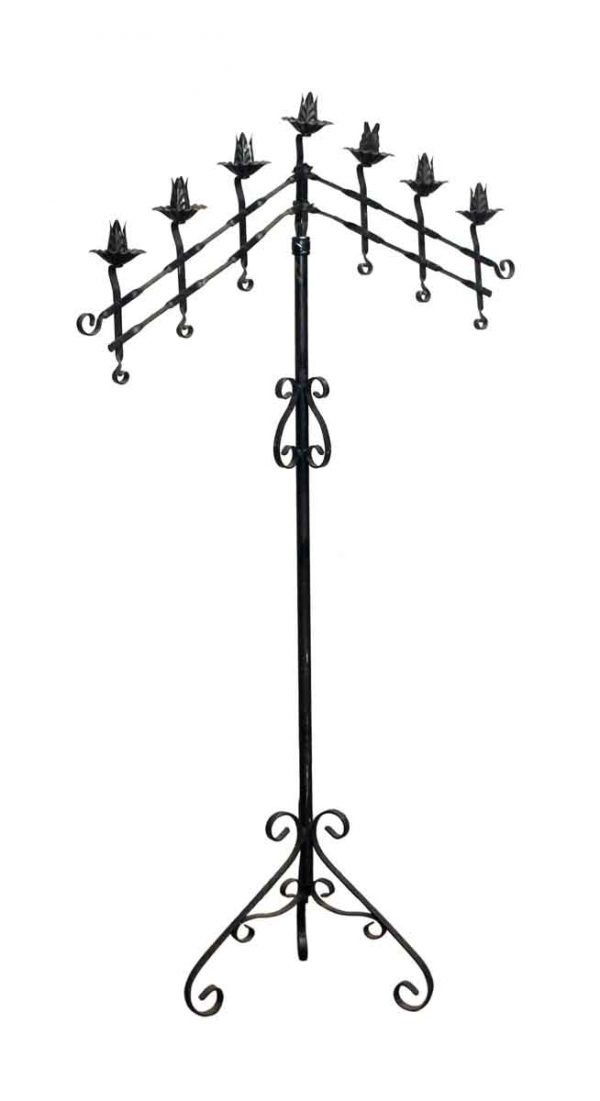 Candle Holders - Salvaged Tall Black Wrought Iron Candelabra
