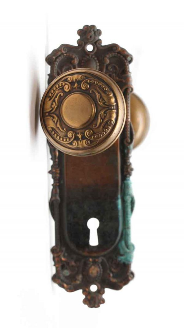 Door Knob Sets - Antique Flemish Corbin Holland Door Knob Set