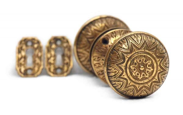 Door Knob Sets - Corbin Quality Gilded Brass Knob Set with Keyhole Covers