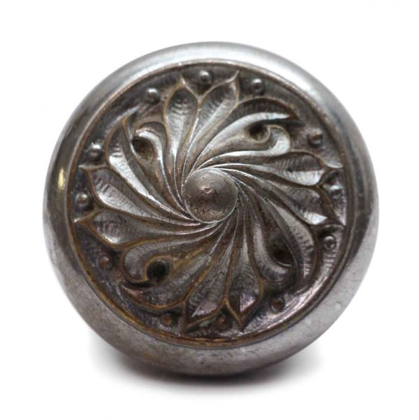 Door Knobs - Antique Romanesque Nickel Plated Floral Bronze Door Knob