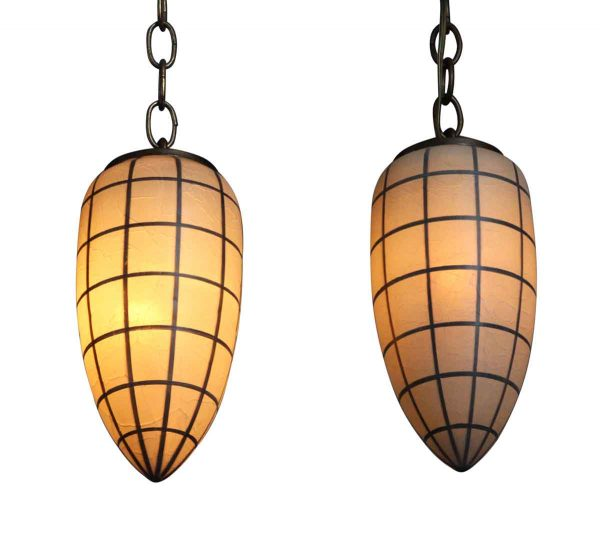 Globes - Pair of Crackled Glass Pendants