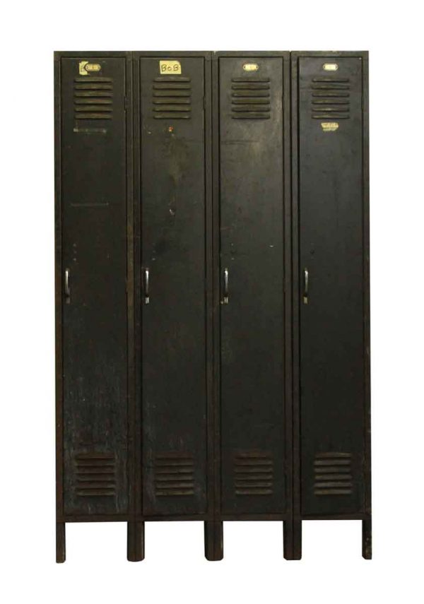 Industrial - Salvaged Large Black Metal Locker Unit