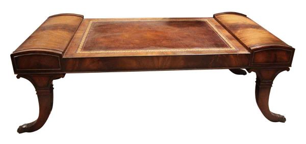 Living Room - Antique Leather Top Claw Foot Coffee Table