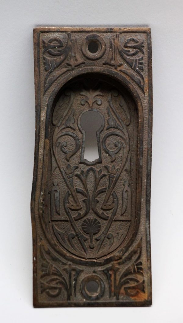 Pocket Door Hardware - Antique Bronze Ornate Pocket Door Plate