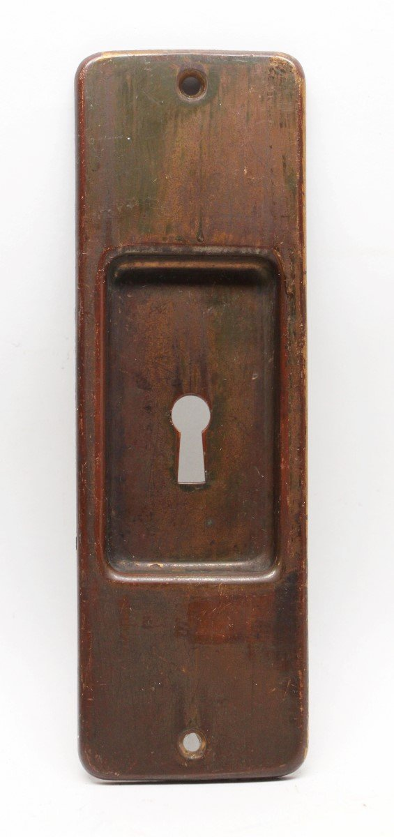 Pocket Door Hardware - Bronze Pocket Door Plate with Warm Patina