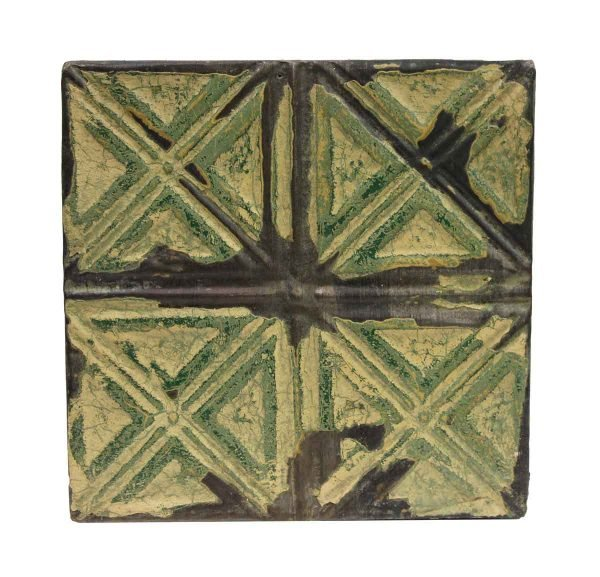 Tin Panels - Four Fold X Green Antique Tin Panel