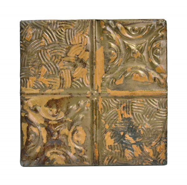 Tin Panels - Textured Orange Four Fold Tan Antique Tin Ceiling Panel