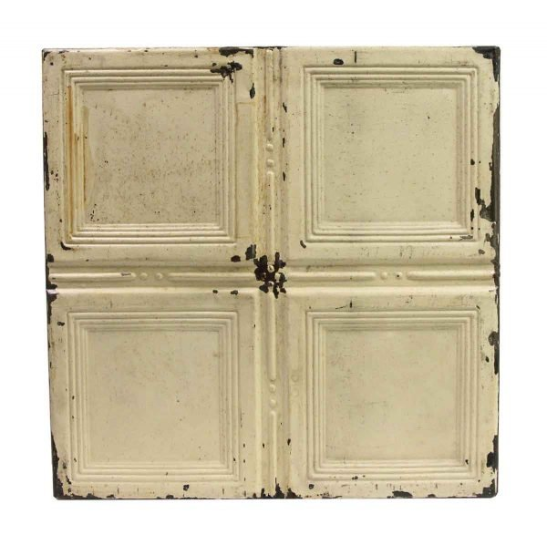 Tin Panels - White Recessed Square Four Fold Tin Ceiling Panel