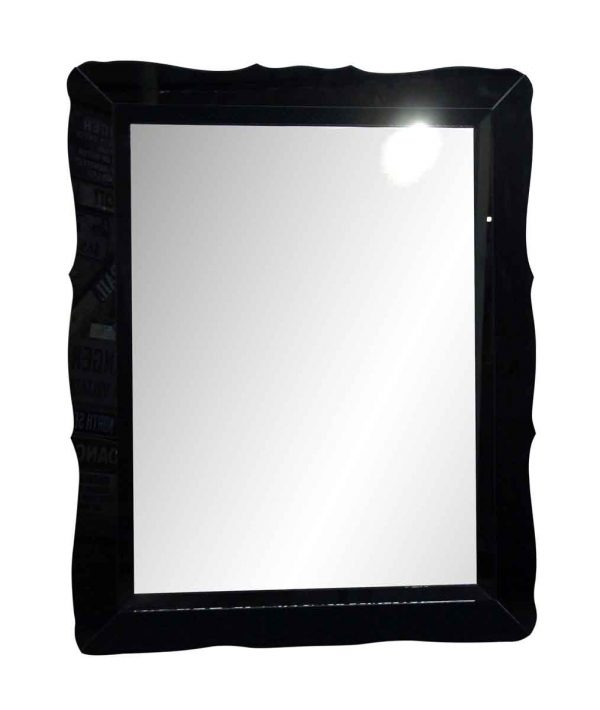 Antique Mirrors - Oversized Vintage Black Mirror with Glass Frame