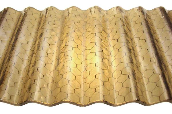 Chicken Wire Glass - Corrugated Fire Resistant Amber Colored Chicken Wire Glass