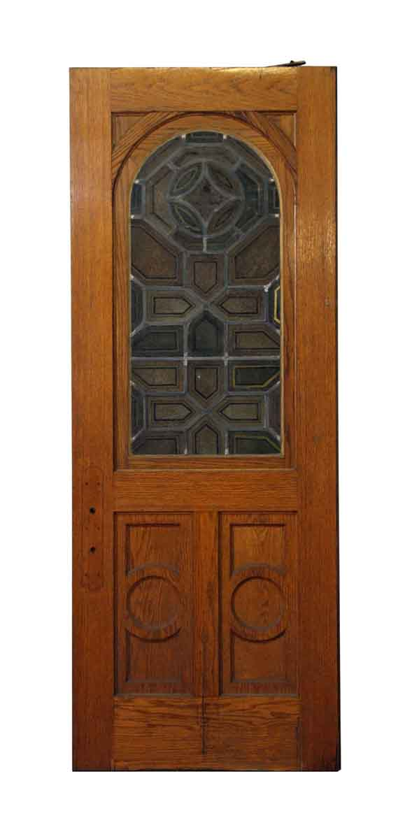Commercial Doors - Arched Stained Glass Swinging Church Door