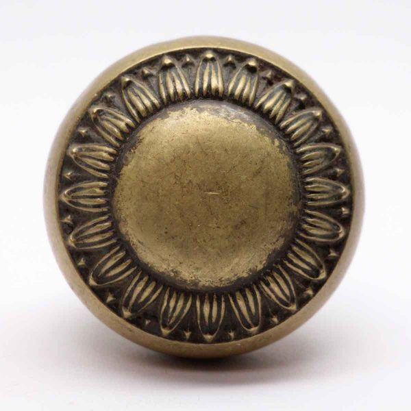 Door Knobs - Yale & Towne Radial Greek Brass Door Knob