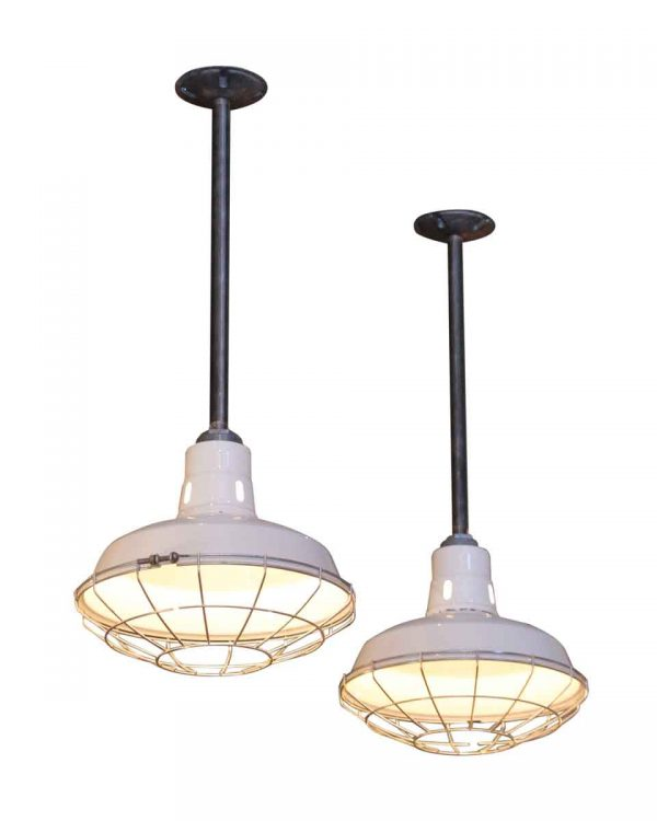 Industrial & Commercial - Industrial White Enamel Cage Light