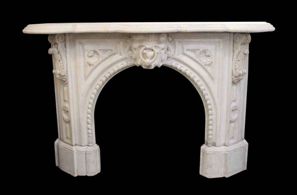 Mantels - Victorian Arch Statuary White Marble Mantel