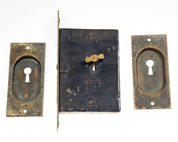 Pocket Door Hardware - Antique Brass Pocket Door Set