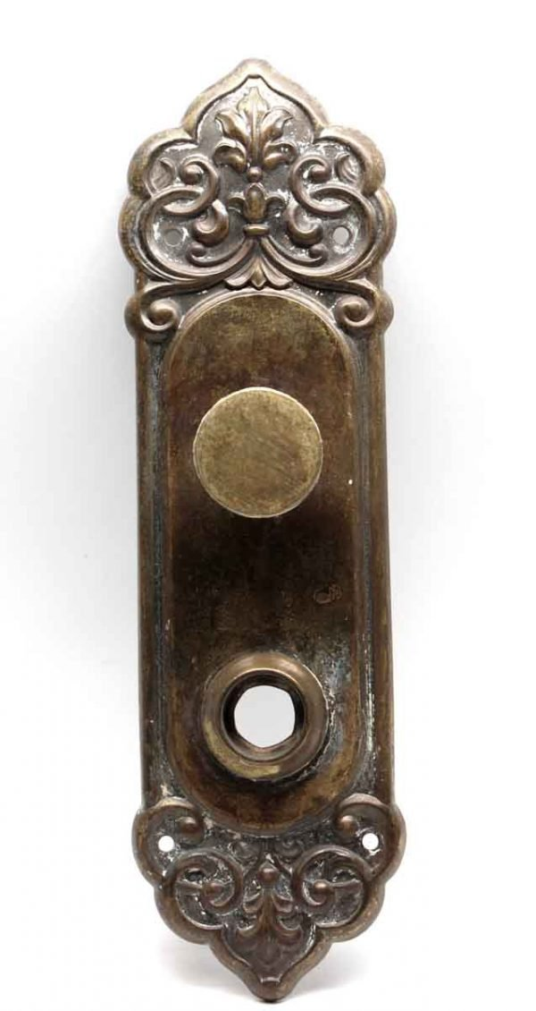 Back Plates - Victorian Brass Ornate Back Plate with Turn Knob