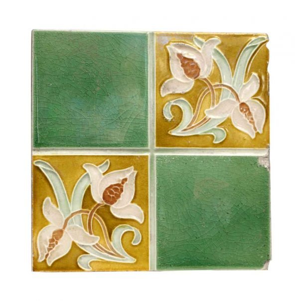 Collectors Tiles - Green & Yellow Floral Tile
