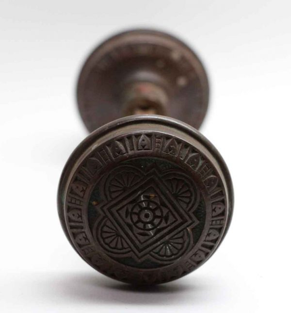 Door Knobs - Dark Patina Vernacular Eastlake Door Knob Set