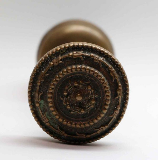 Door Knobs - Pair of Bronze Beaded Concentric Door Knob Set