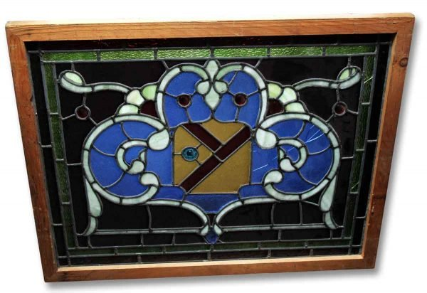 Stained Glass - Salvaged Stained Glass Window with Shield