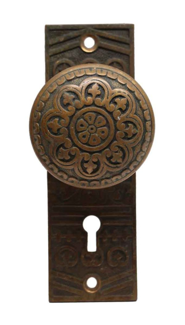 Door Knob Sets - Antique Bronze Niles Chicago 8 Fold Door Knob Set