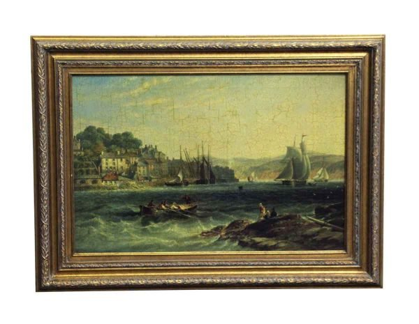 Paintings - Antique Ornate Framed Scenic Sea Painting