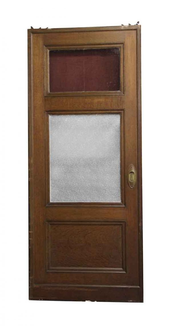 Pocket Doors - Wooden Pocket Door with Red Stained Glass Panel