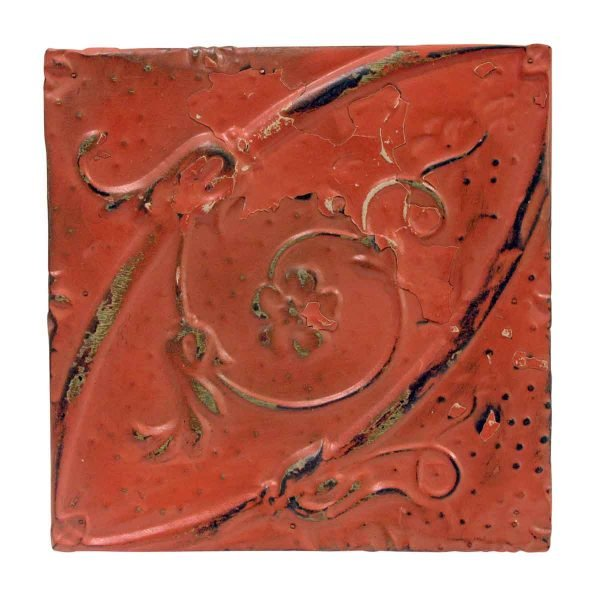 Tin Panels - Red Oval Floral Tin Panel